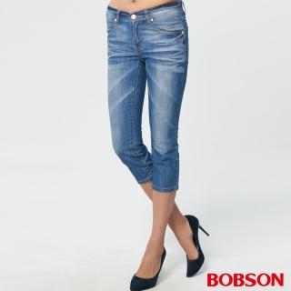 【BOBSON】女款低腰刷銀漿牛仔七分褲(227-53)