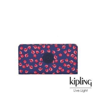【KIPLING】古典茜紅小花多卡層磁釦長夾-JOANNA