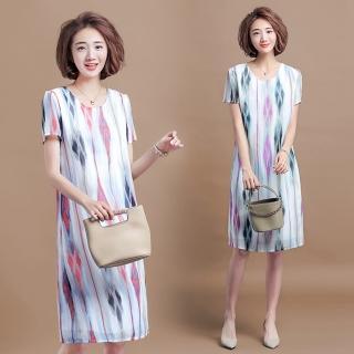 【KVOLL】印花雪紡撞色休閒短袖連衣裙XL-5XL(共二色)