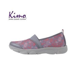 【Kimo】豹紋風格網布懶人平底休閒鞋(花漾灰KAISF054342)