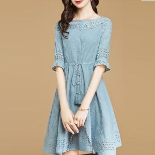 【FQ時尚天后】淺藍縷空蕾絲袖流蘇麻繩收腰洋裝(S-2XL)