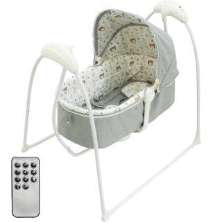 【Babybabe】嬰幼兒MP3音樂電動搖床-熊熊家族(亞麻灰)
