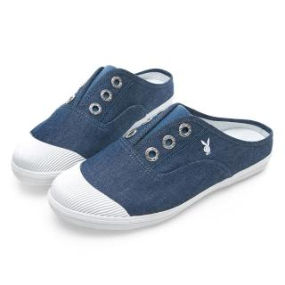 【PLAYBOY】百搭首選穆勒帆布鞋-藍-Y5209FF