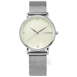 【rumba time】Lafayette 紐約品牌 珍珠母貝 奢華晶鑽 米蘭編織不鏽鋼手錶 米白色 32mm(RU27709)