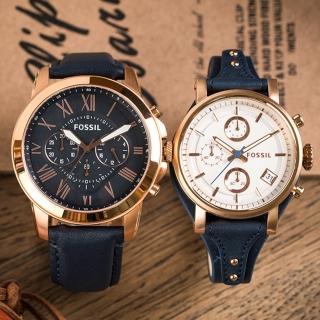 【FOSSIL】浪漫情懷時尚情侶對錶(FS4835+ES3838)