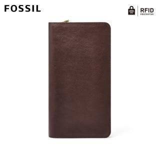 【FOSSIL】Travel 深咖啡色真皮RFID護照長夾 男MLG0334201