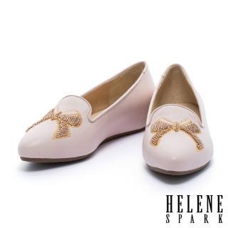 【HELENE SPARK】蝴蝶結刺繡造型全真皮樂福休閒鞋(粉)