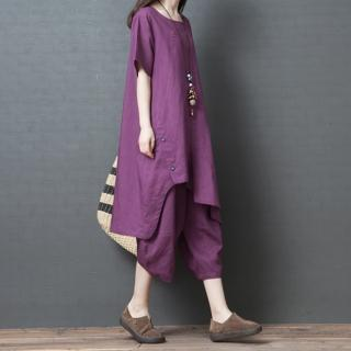 【A.Cheter】神戶花季琴藝輕鬆自在寬鬆棉麻2件式褲裝103920#j(2色)