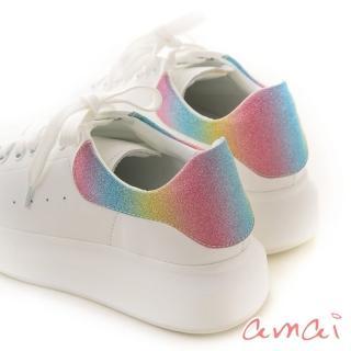 【amai】撞色真皮空氣小白鞋(彩虹糖)