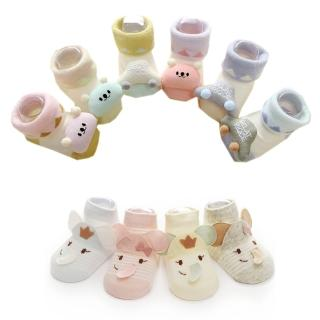 【Kidself】春夏新品新生兒寶寶全棉Q版點膠防滑襪 --6入裝(寶寶襪)