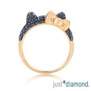 【Just Diamond】Hello Kitty黑鑽風潮18K玫瑰金系列 鑽石戒指(耳朵)
