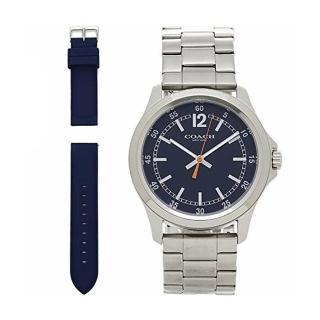 【COACH】型男最愛銀X深藍雙錶帶時尚腕錶組(W1535-L38)