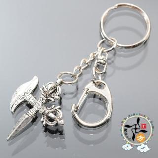 【十方佛教文物】十字金剛獗{藏銀}鑰匙圈(+招財進寶財神 3D吉祥小卡)