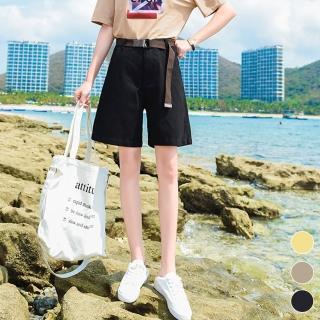 【MsMore】加勒比海珊瑚礁涼爽高腰五分休閒寬褲附皮帶103998現貨+預購(3色)
