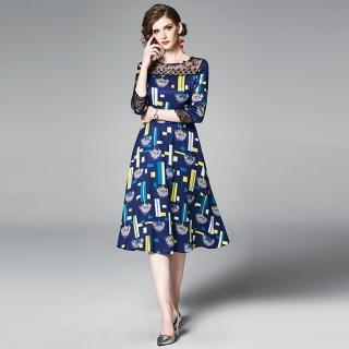 【M2M】時尚修身蕾絲拼接印花洋裝S-XL
