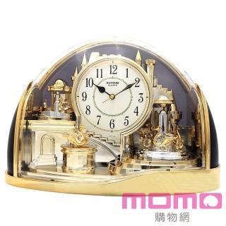 【RHYTHM 麗聲】宮廷天鵝湖組曲動感擺錘裝飾座鐘(金色)