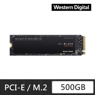 【WD 威騰】黑標 SN750 500GB M.2 2280 PCIe Gen NVMe 固態硬碟(WDS500G3X0C)