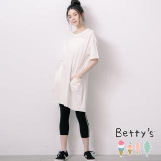 【betty's 貝蒂思】簡約側邊織帶內搭褲(黑色)