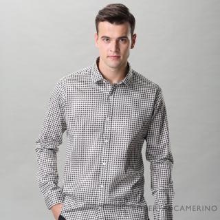 【ROBERTA 諾貝達】進口素材 台灣製 合身版 方格品味 純棉長袖襯衫(咖啡)