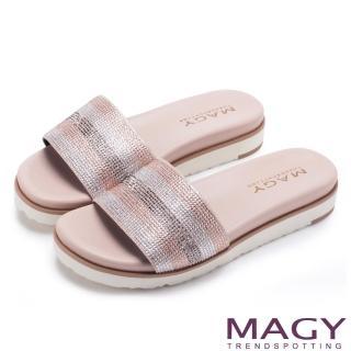 【MAGY】耀眼時尚 奢華燙鑽Q彈厚底拖鞋(粉裸)