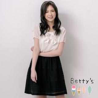 【betty's 貝蒂思】公主袖縮腰配色雪紡洋裝(黑色)