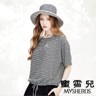 【mysheros 蜜雪兒】細條紋縮腰帶上衣(黑)