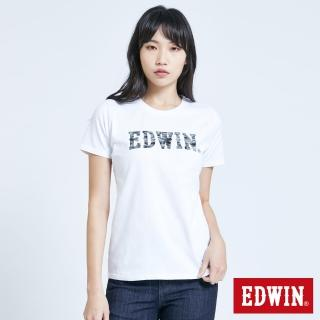 【EDWIN】EFS 花紗植絨LOGO短袖T恤-女款(白色)