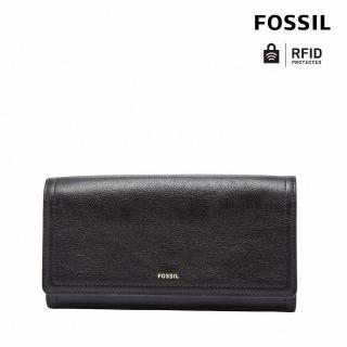 【FOSSIL】LOGAN 黑色三折真皮拉鍊RFID長夾SL7833001