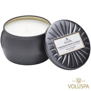 【美國 VOLUSPA】黑檀子&桃子 錫盒 127g香氛蠟燭(Makassar Ebony & Peach)