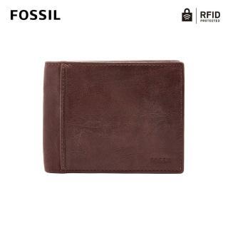 【FOSSIL】Ingram 咖啡色真皮RFID短夾 男ML3781200