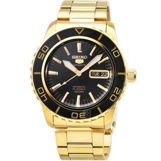 【SEIKO 精工】精工5號大錶徑機械鋼帶腕錶- 金(SNZH60K1)