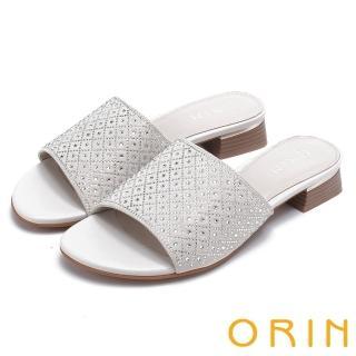 【ORIN】魅力新時尚 寬版一字布面燙鑽低跟拖鞋(米白)