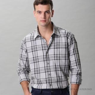 【ROBERTA 諾貝達】進口素材 台灣製 休閒百搭 純棉格紋長袖襯衫(灰色)