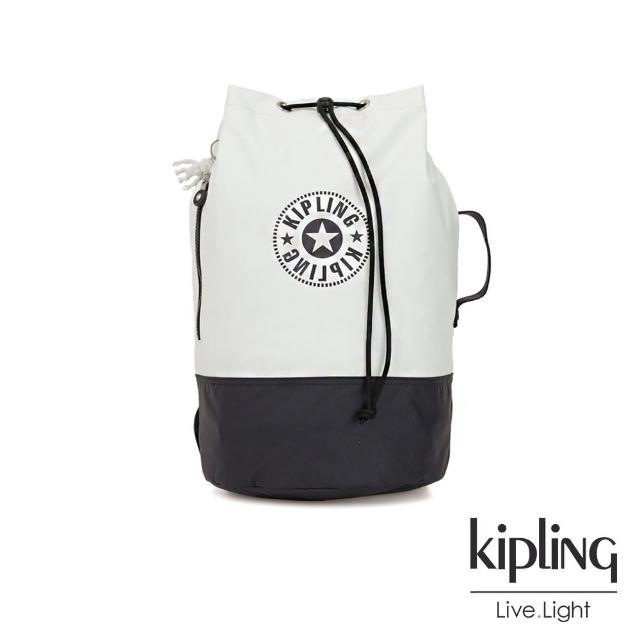 【KIPLING】渡假海灘風黑白撞色復古休閒LOGO束口水桶手提後背包-ETOKO