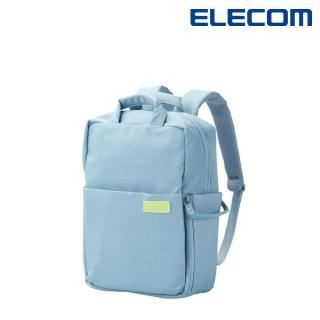 【ELECOM】迷你帆布多功能3WAY薄型後背包OF05-粉藍(馬卡龍限定色)