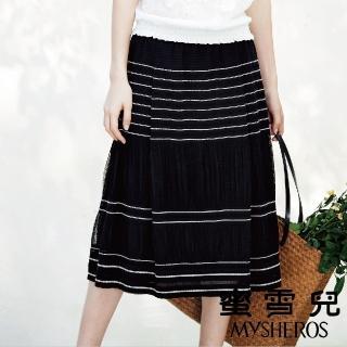 【mysheros 蜜雪兒】白條紋黑底仿紗長裙(黑)