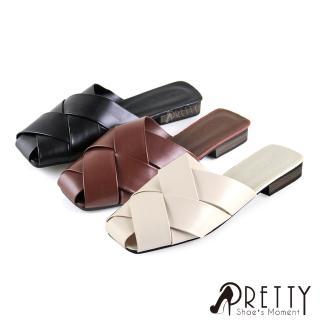 【Pretty】寬版線條交叉前包後空方頭低跟穆勒拖鞋(棕色、米色、黑色)