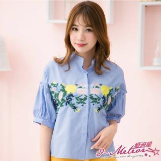 【I-meteor】中大尺碼-全開釦繡花設計襯衫短袖上衣PA3730(時尚藍條)