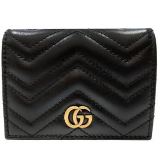 【GUCCI 古馳】466492 GG Marmont matelasse系列絎縫紋牛皮金屬雙G LOGO暗釦卡夾/零錢包(黑色)