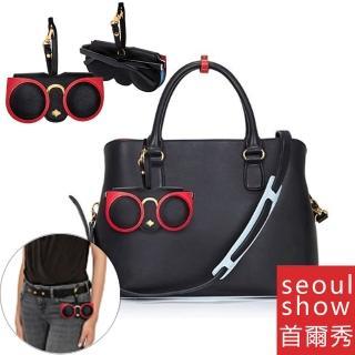 【Seoul Show首爾秀】紅色貓眼外掛墨鏡收納包光學眼鏡保護夾太陽眼鏡盒(墨鏡平光近視老花)