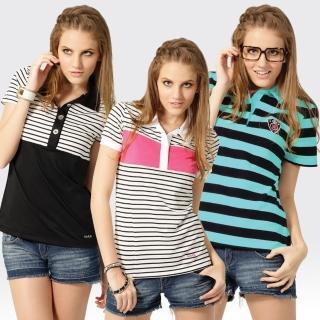【SAMLIX 山力士】三件組 MIT女款韓版吸濕排汗快乾涼感機能POLO衫(S-XL)