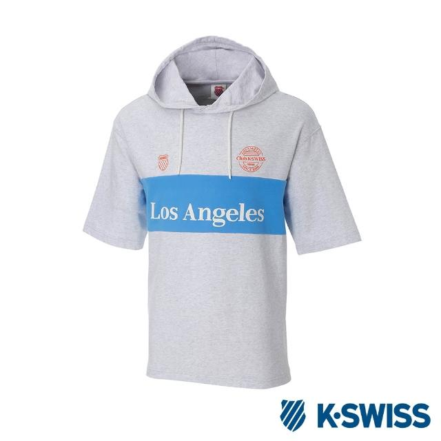 【K-SWISS】Club Hood T-Shirt短袖連帽上衣-男女-淺灰(172948-027)