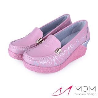 【MOM】真皮古典玫瑰浮水印花增高美腿搖搖鞋 休閒便鞋(粉)