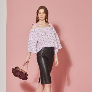 【ICHE 衣哲】100%精緻刺繡雕花造型上衣-兩穿-兩色-薰衣草紫