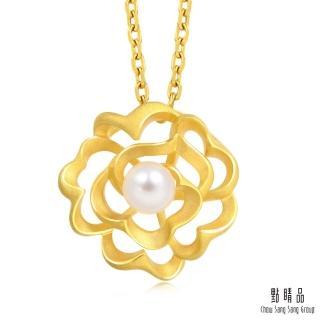 【點睛品】優雅玫瑰 珍珠黃金吊墜_計價黃金
