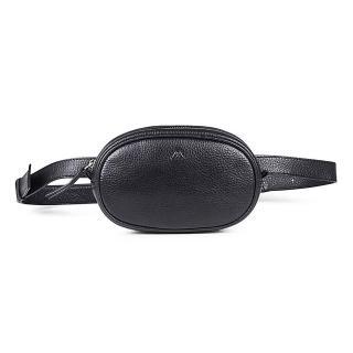 【MARKBERG】Eloise 丹麥手工牛皮率性長橢圓腰包 胸包 斜背包(極簡黑)