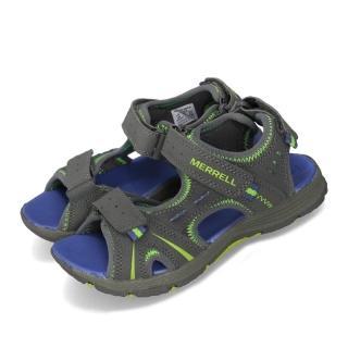 【MERRELL】涼鞋 Panther Sandal 戶外運動 童鞋 多功能 魔鬼氈 透氣 耐磨 郊遊踏青 大童 灰藍(MC53337)