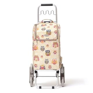 【THE CARROS 卡蘿】輕便時尚購物車-30L波浪三輪-香檳貓頭鷹(上下樓梯)