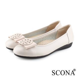 【SCONA 蘇格南】全真皮 氣質舒適平底娃娃鞋(米色 31030-2)