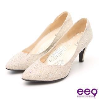 【ee9】MIT經典手工 璀璨迷人鑲嵌閃耀亮鑽高跟鞋 粉米色(跟鞋)